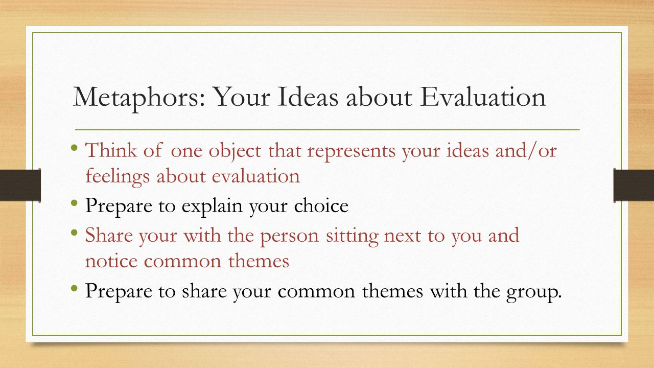 Metaphors: Your Ideas about Evaluation