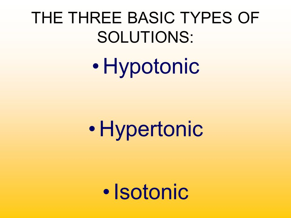 THE THREE BASIC TYPES OF SOLUTIONS: