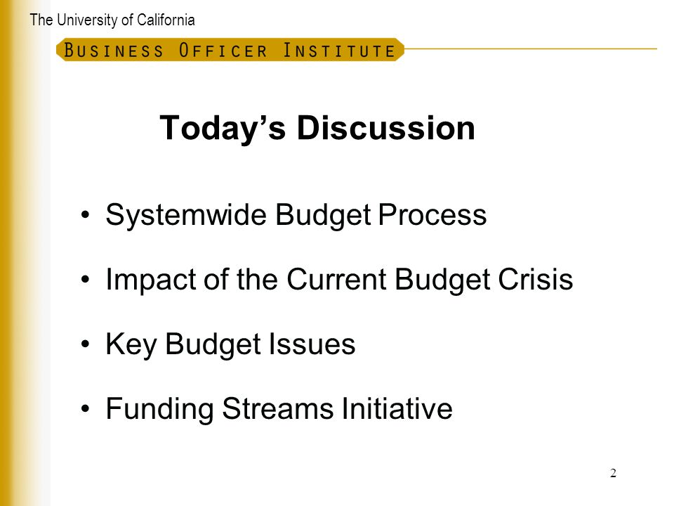Today's Discussion Systemwide Budget Process