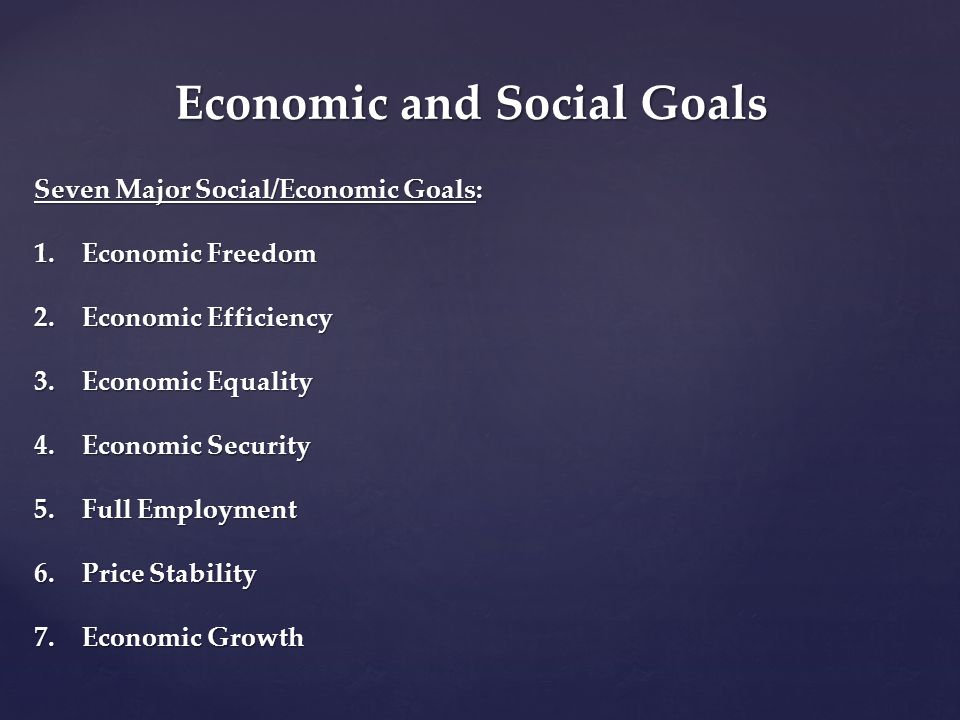 Economic and Social Goals