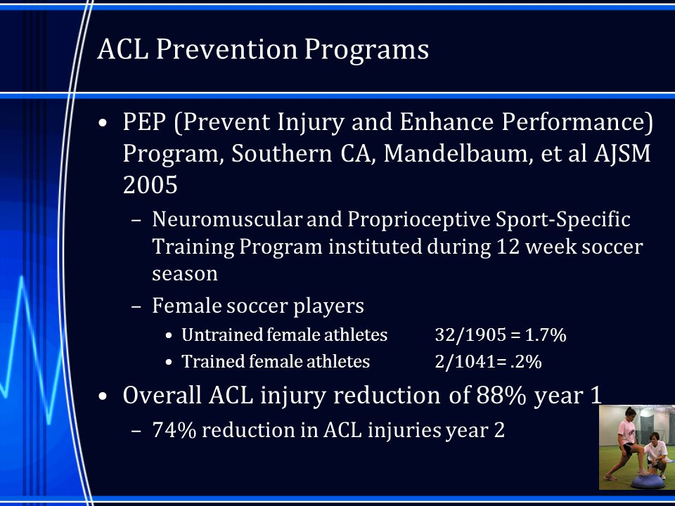 the analysis of acl prevention programs and their implication to physical education curriculum Physical education teachers administering the new moves program attend a 1-day training prior to the program and a 1/2-day training in the middle of the program individual coaching sessions are scheduled for 15-20 minutes, every 3-4 weeks depending on the girl's schedule and interest.