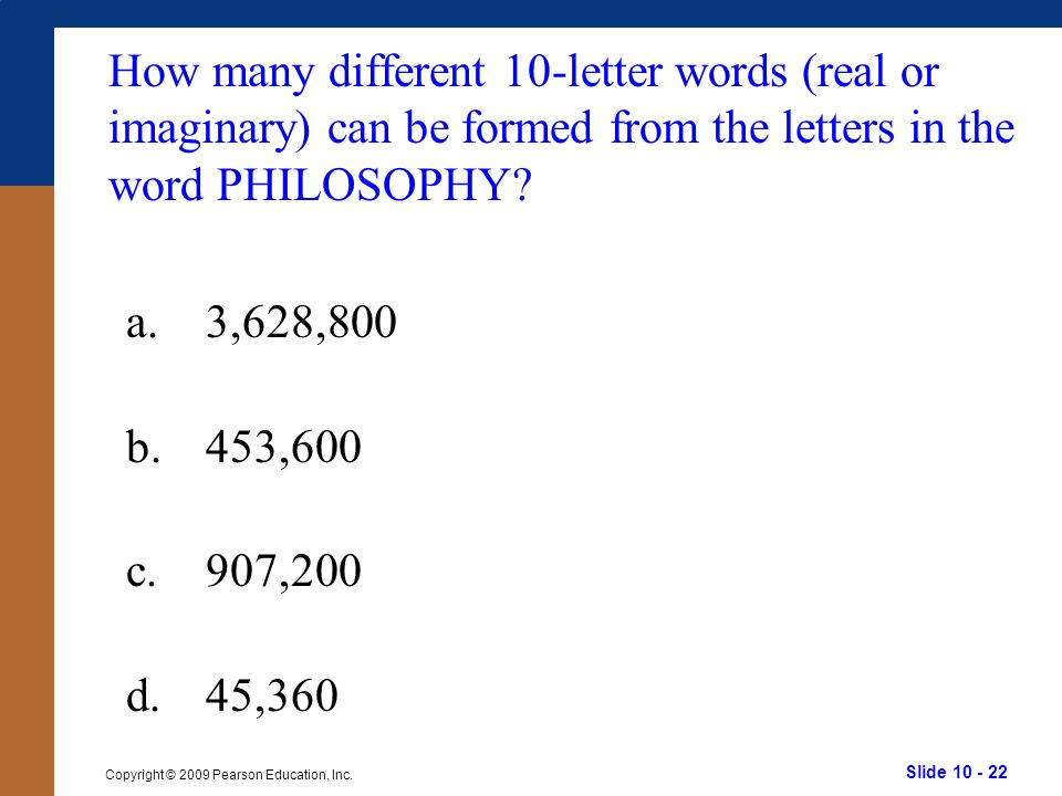 10 letter words counting and probability ppt 20003 | How many different 10 letter words %28real or imaginary%29 can be formed from the letters in the word PHILOSOPHY
