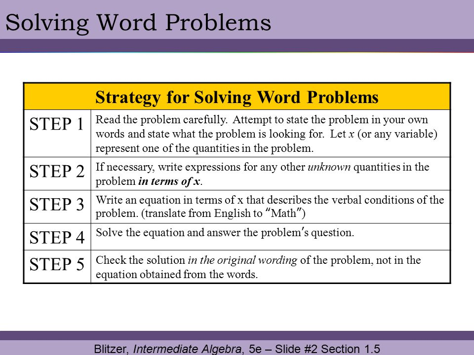 1.5 Problem Solving and Using Formulas. - ppt video online download