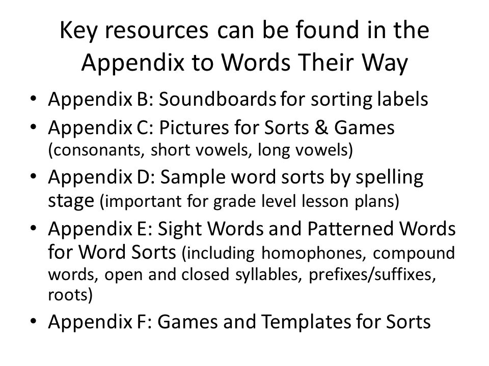 words their way appendix