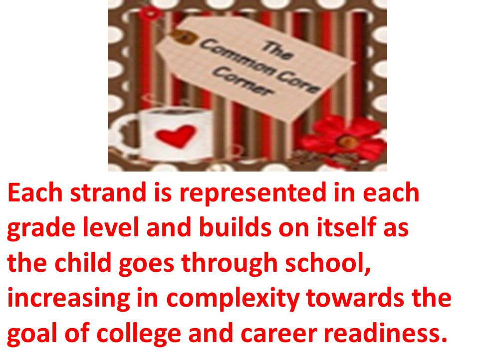 Each strand is represented in each grade level and builds on itself as the child goes through school, increasing in complexity towards the goal of college and career readiness.