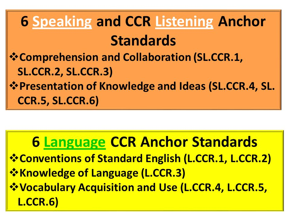 6 Speaking and CCR Listening Anchor Standards
