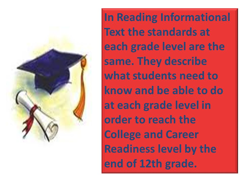 In Reading Informational Text the standards at each grade level are the same.