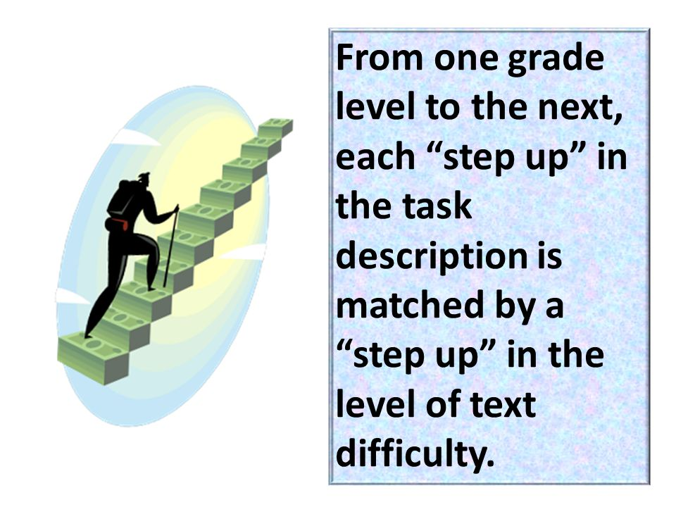 From one grade level to the next, each step up in the task description is matched by a step up in the level of text difficulty.