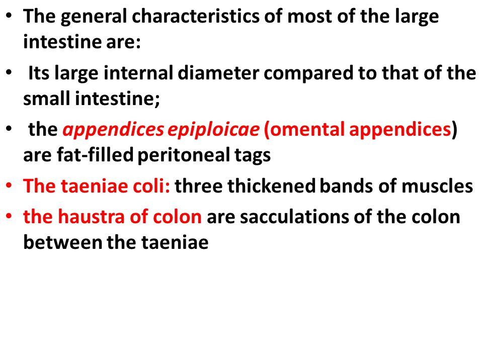 The general characteristics of most of the large intestine are:
