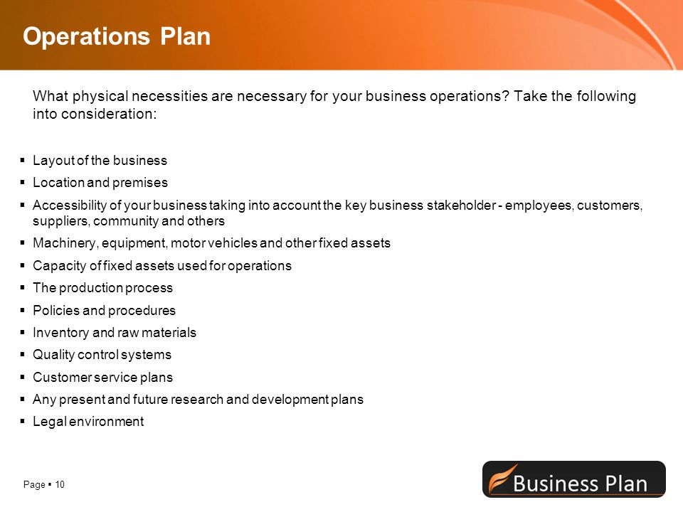 Operations Plan What physical necessities are necessary for your business operations Take the following into consideration: