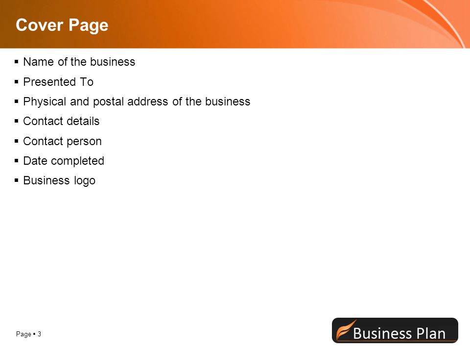 Cover Page Name of the business Presented To
