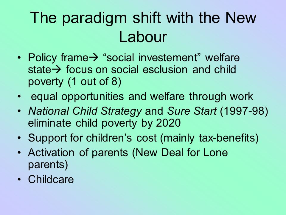 The paradigm shift with the New Labour