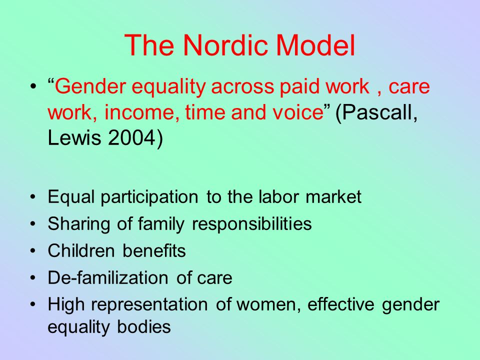 The Nordic Model Gender equality across paid work , care work, income, time and voice (Pascall, Lewis 2004)