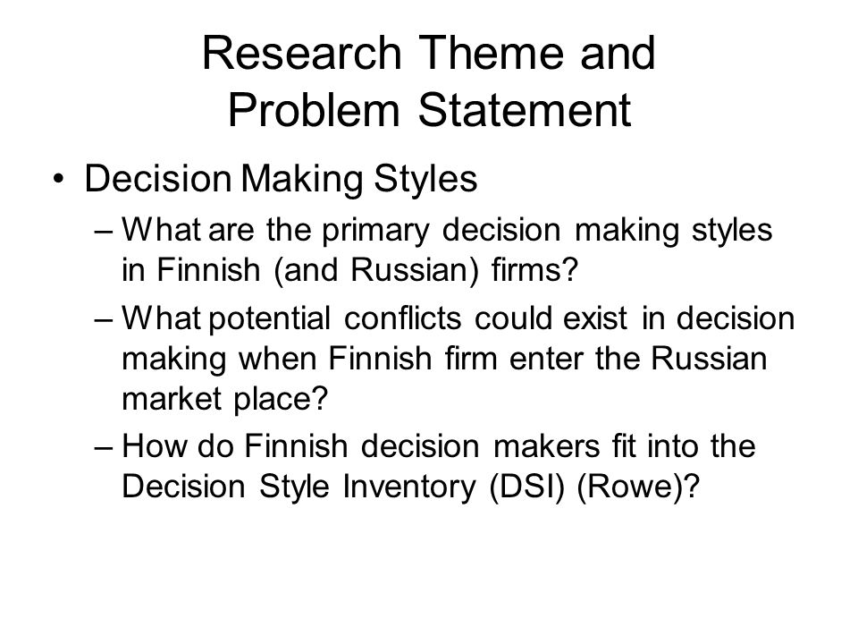 Research Theme and Problem Statement