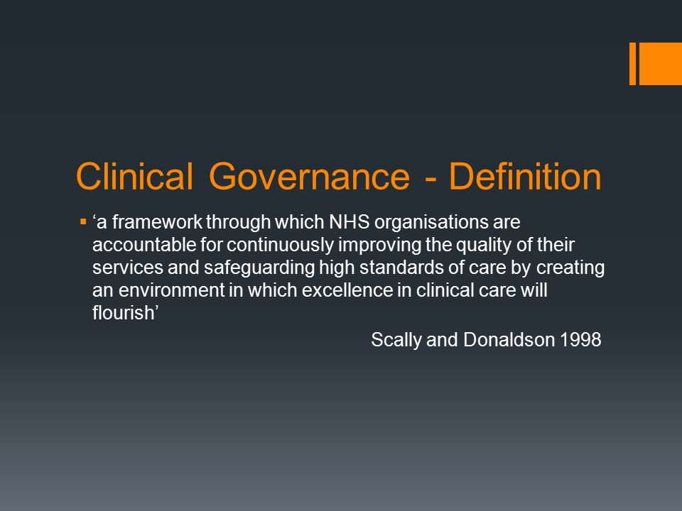 Clinical Governance - Definition