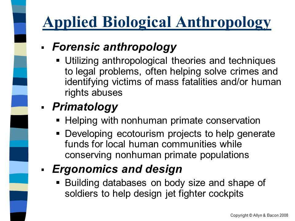 biological anthropology Physical/ biological anthropology is the study of the past and present evolution of the human species and is especially concerned with understanding the causes of present human diversity.