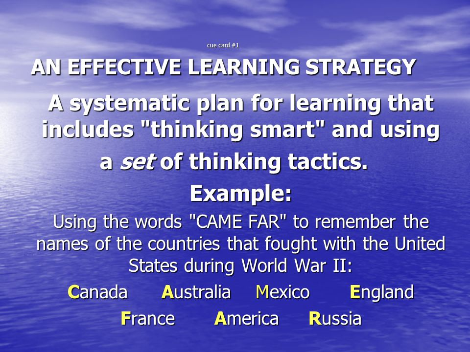 cue card #1 AN EFFECTIVE LEARNING STRATEGY