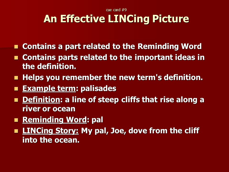 cue card #9 An Effective LINCing Picture