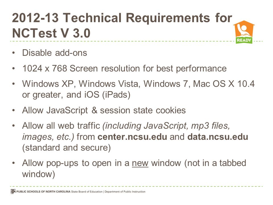 Technical Requirements for NCTest V 3.0