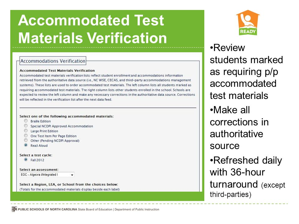 Accommodated Test Materials Verification