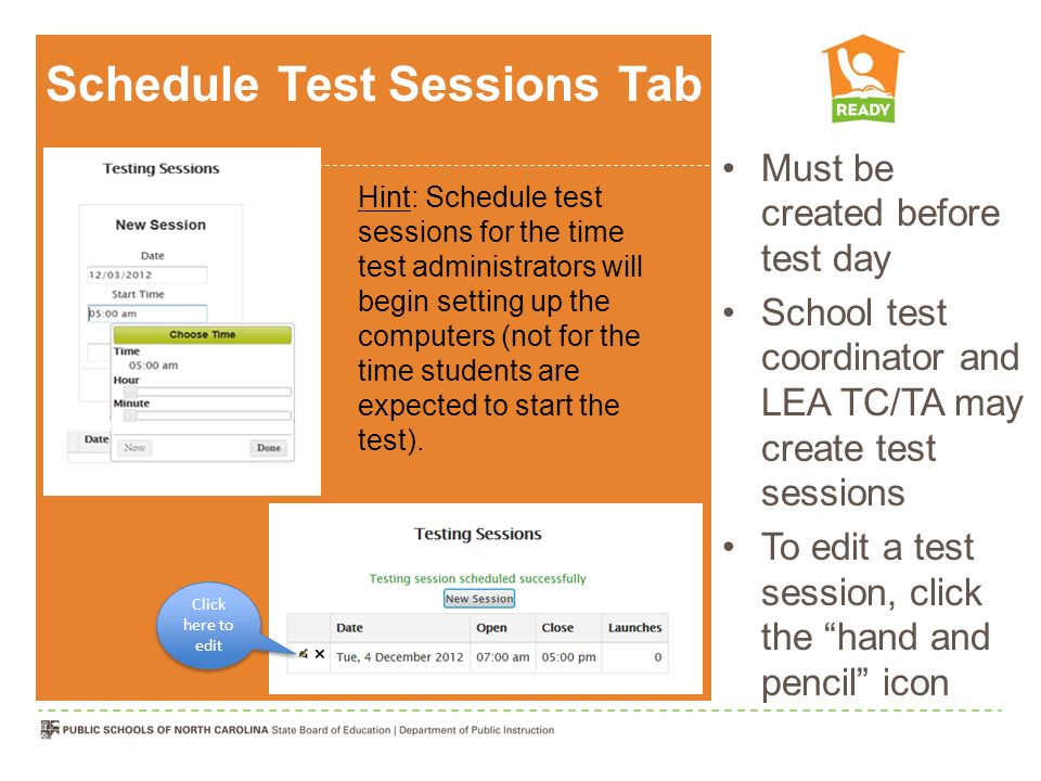 Schedule Test Sessions Tab