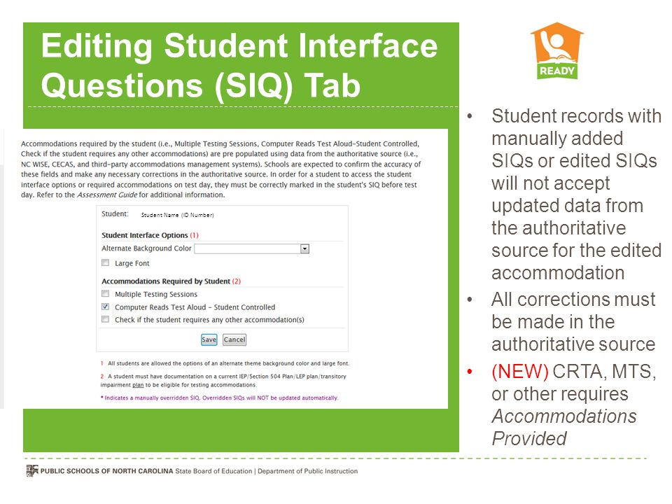 Editing Student Interface Questions (SIQ) Tab