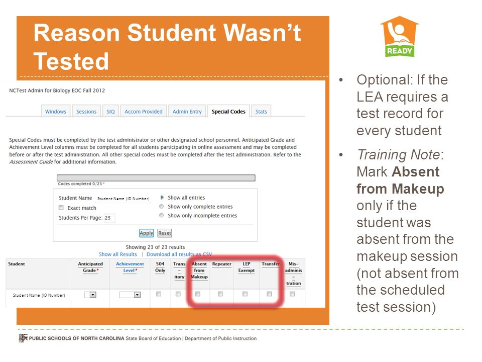 Reason Student Wasn't Tested