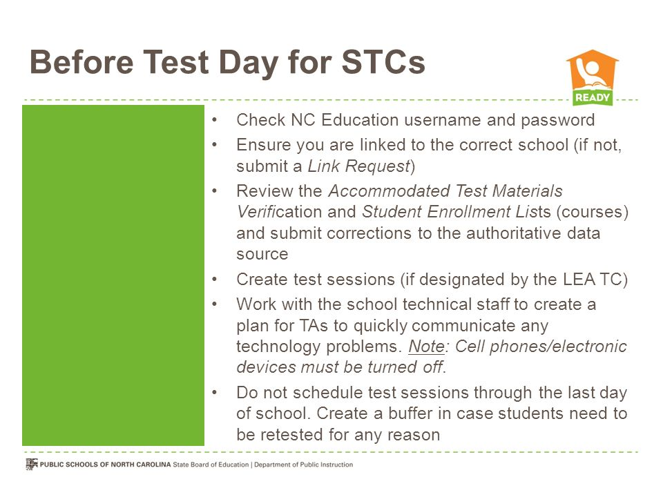 Before Test Day for STCs