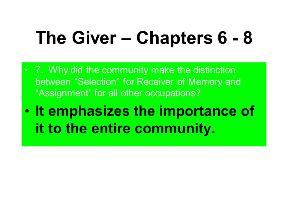thesis statement the giver In the giver, we learn that choices about the future cannot be made without knowledge of the past because the characters in the novel have no memory, they can not actively decide anything instead, they are governed by a strict set of rules which doesn't allow for free will with little.