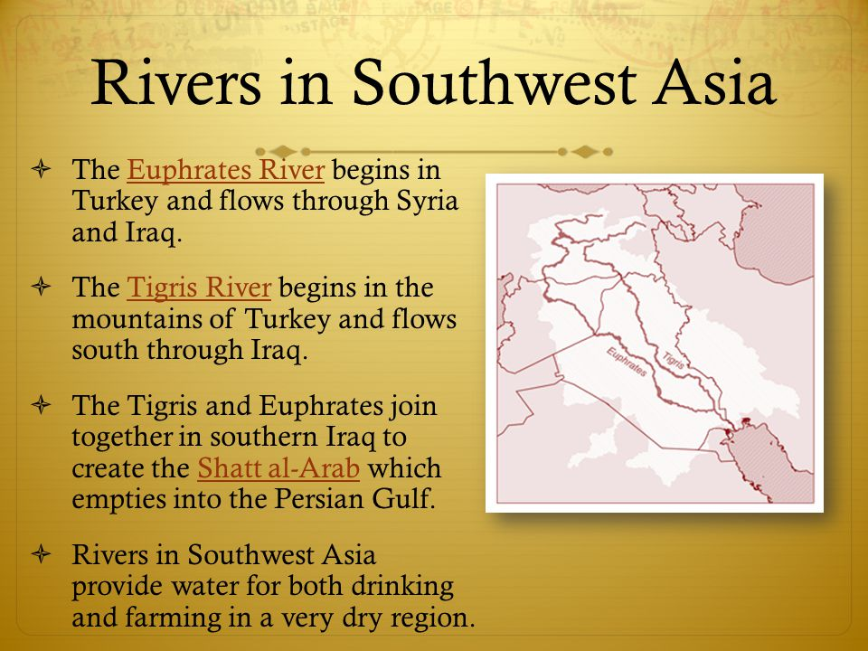 Rivers in Southwest Asia