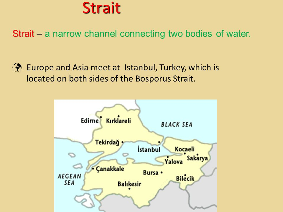 Strait Strait – a narrow channel connecting two bodies of water.