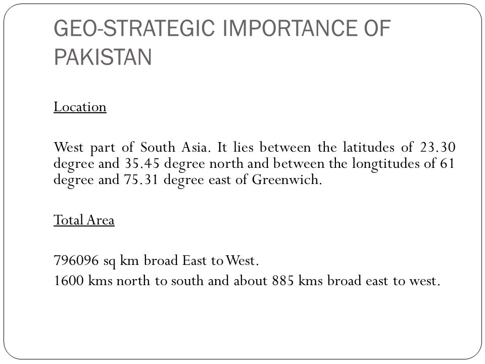 location of pakistan and its importance