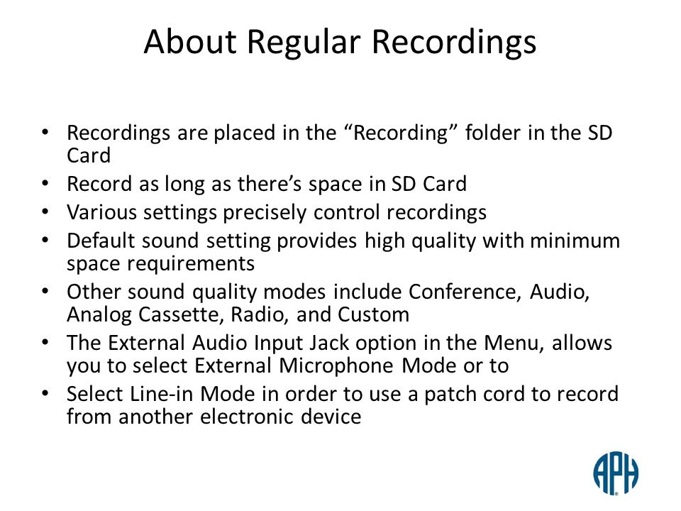 About Regular Recordings