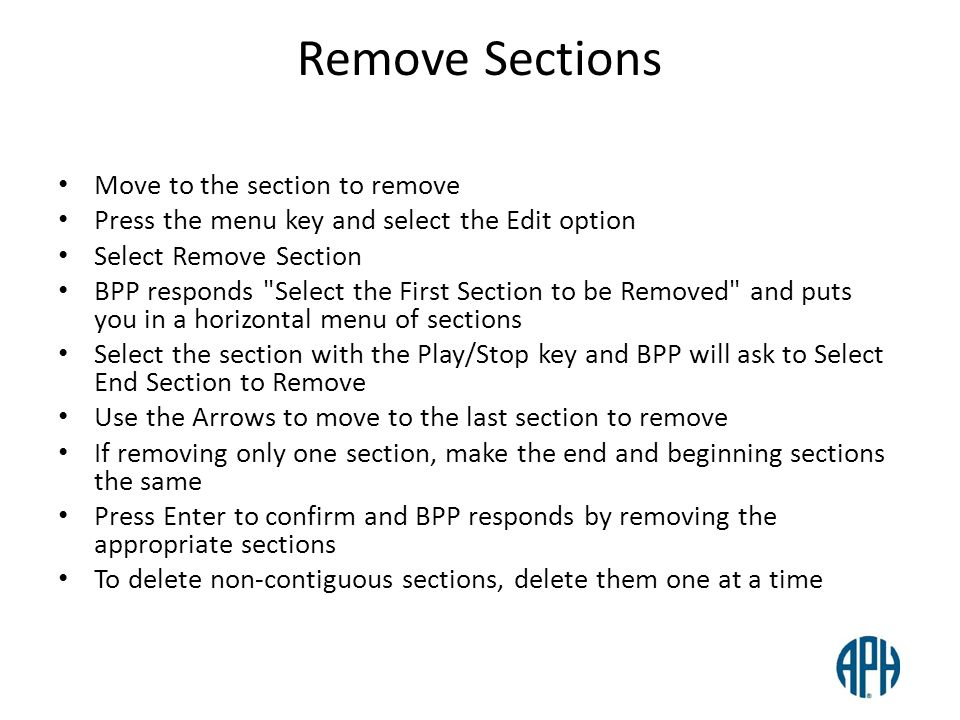 Remove Sections Move to the section to remove