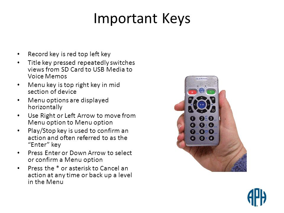 Important Keys Record key is red top left key