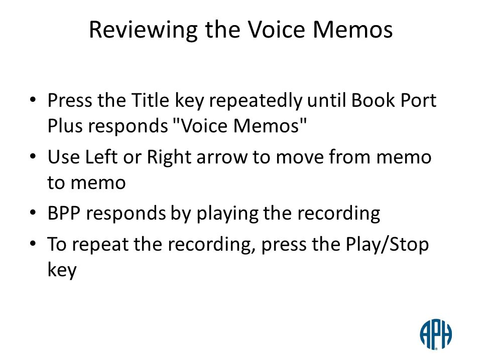 Reviewing the Voice Memos