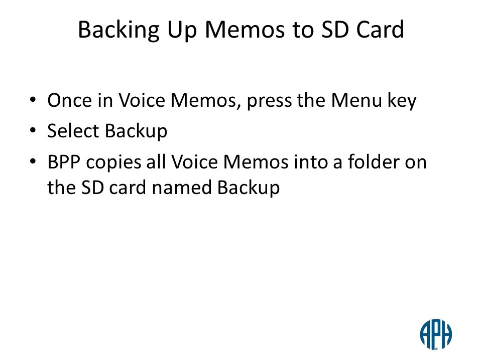 Backing Up Memos to SD Card