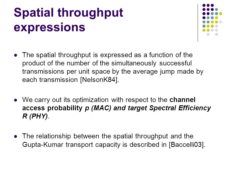 Spatial throughput expressions