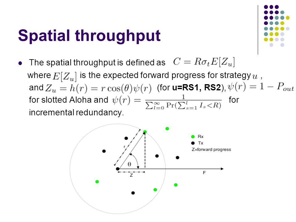 Spatial throughput The spatial throughput is defined as