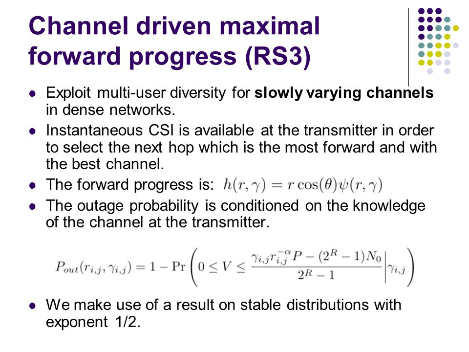 Channel driven maximal forward progress (RS3)