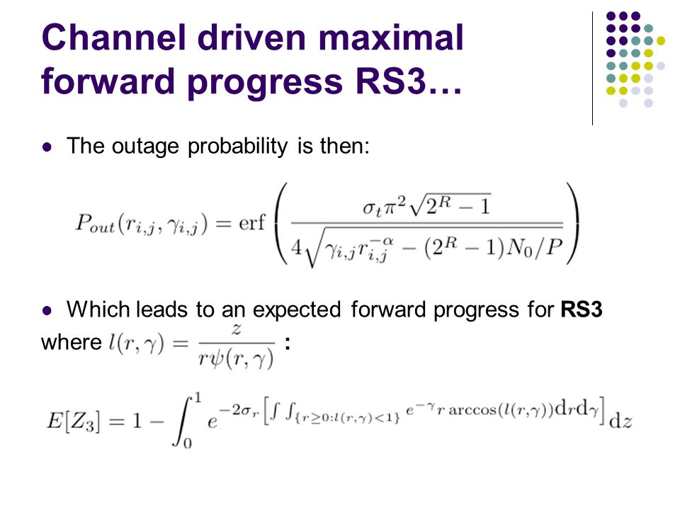 Channel driven maximal forward progress RS3…