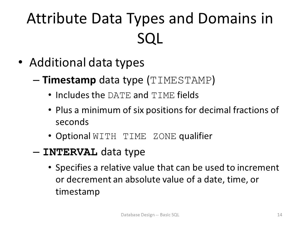 Attribute Data Types and Domains in SQL