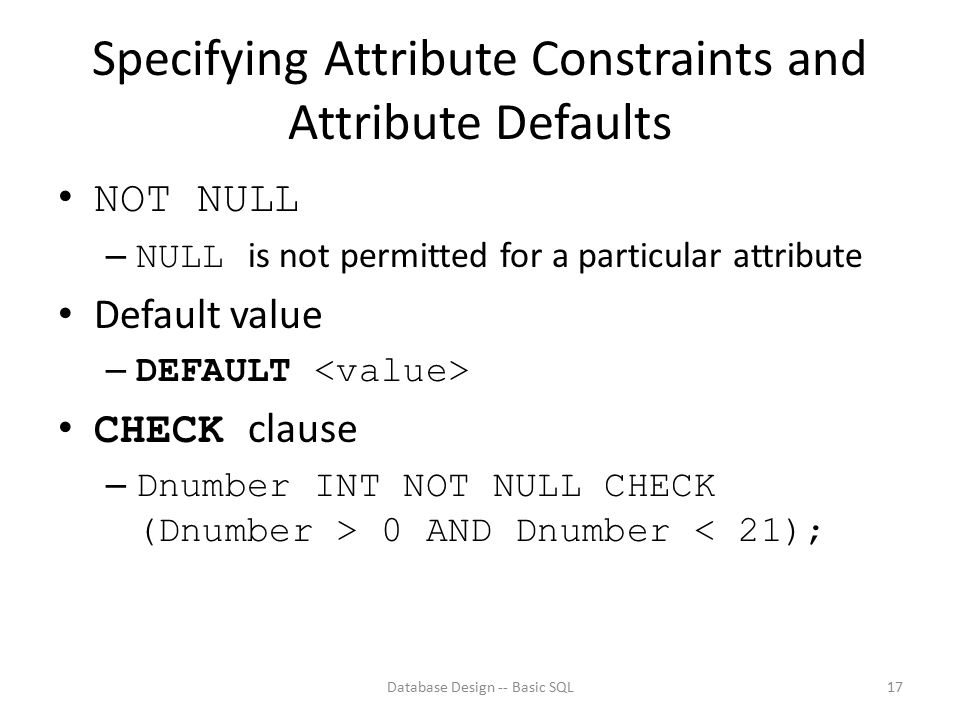 Specifying Attribute Constraints and Attribute Defaults