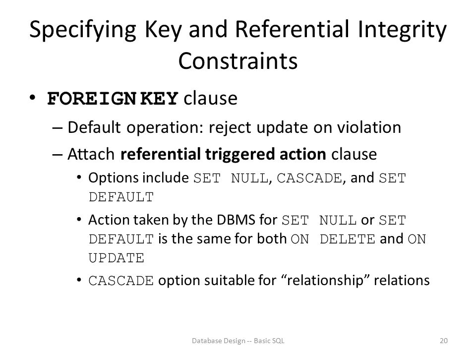 Specifying Key and Referential Integrity Constraints