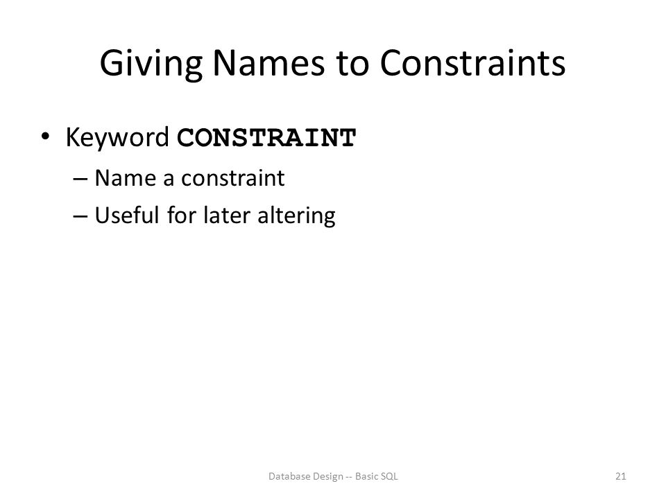 Giving Names to Constraints
