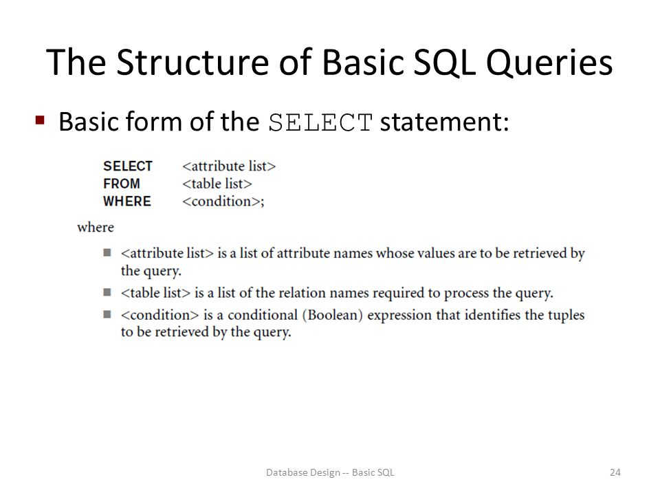The Structure of Basic SQL Queries