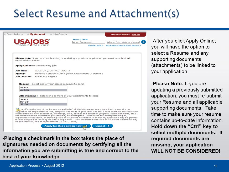 Select Resume and Attachment(s)