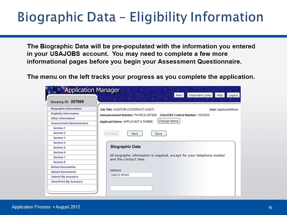 Biographic Data – Eligibility Information