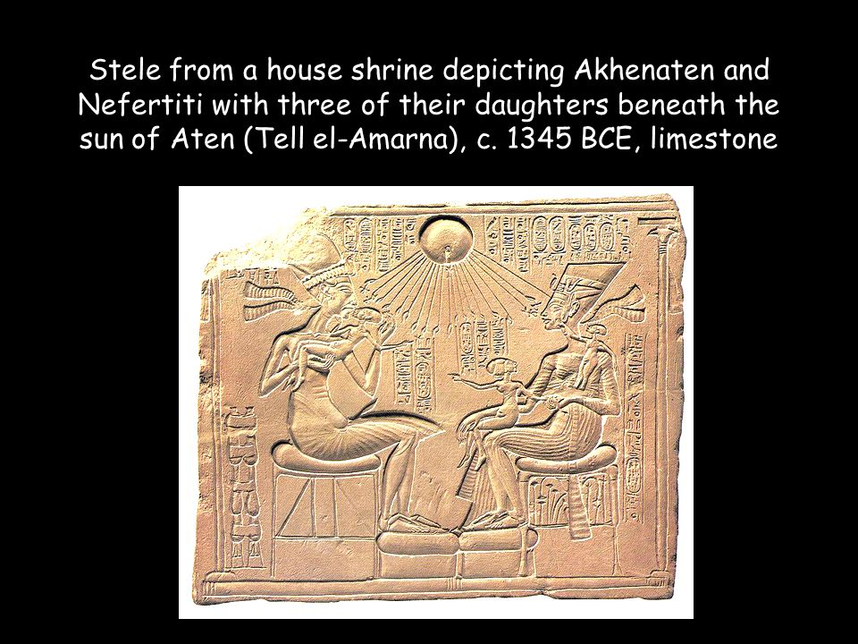 Stele from a house shrine depicting Akhenaten and Nefertiti with three of their daughters beneath the sun of Aten (Tell el-Amarna), c.