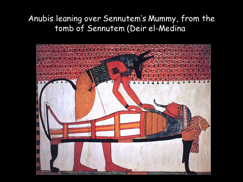 Anubis leaning over Sennutem's Mummy, from the tomb of Sennutem (Deir el-Medina)